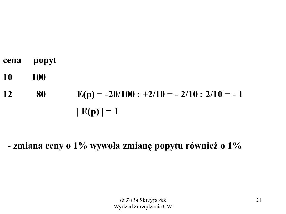 dr Zofia Skrzypczak Wydział Zarządzania UW 21 cena popyt 10 100 12 80 E(p) = -20/100 : +2/10 = - 2/10 : 2/10 = - 1 | E(p) | = 1 - zmiana ceny o 1% wywoła zmianę popytu również o 1%