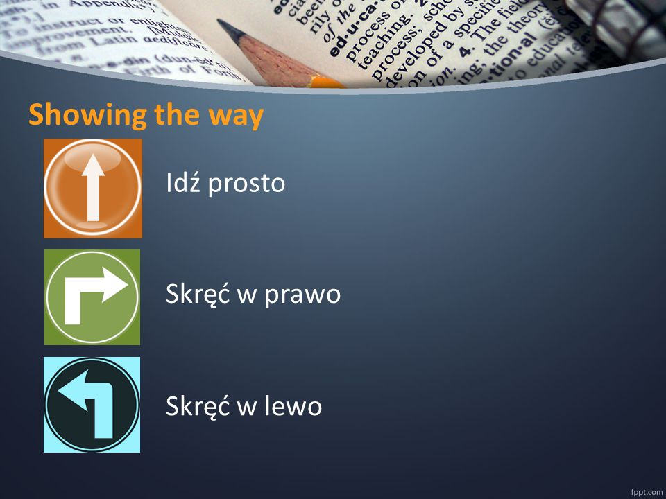 Showing the way Idź prosto Skręć w prawo Skręć w lewo