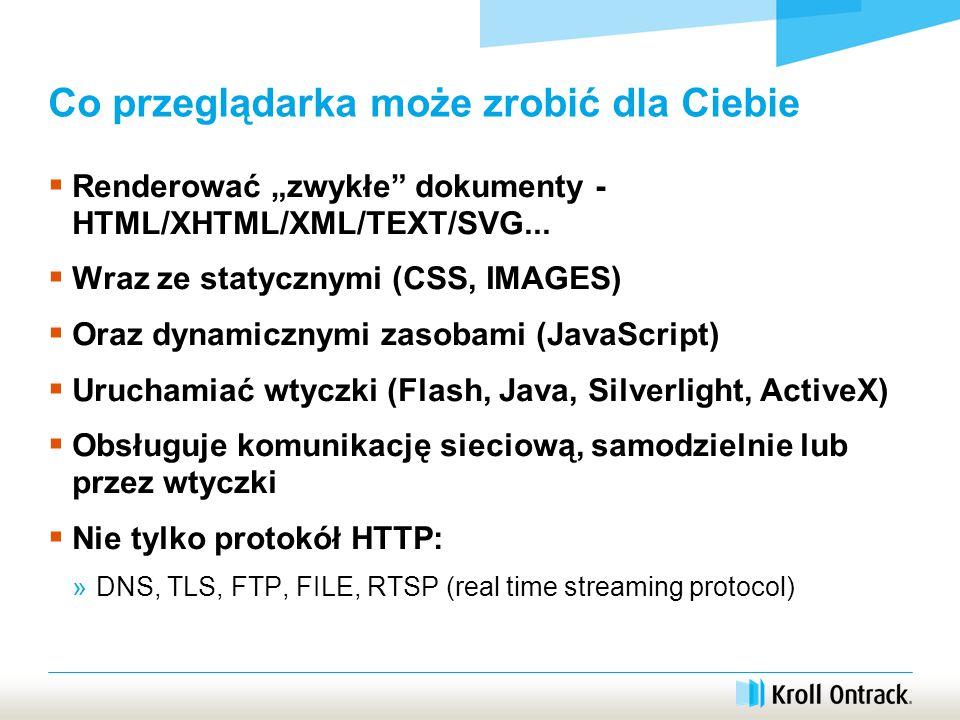 """Co przeglądarka może zrobić dla Ciebie  Renderować """"zwykłe dokumenty - HTML/XHTML/XML/TEXT/SVG..."""