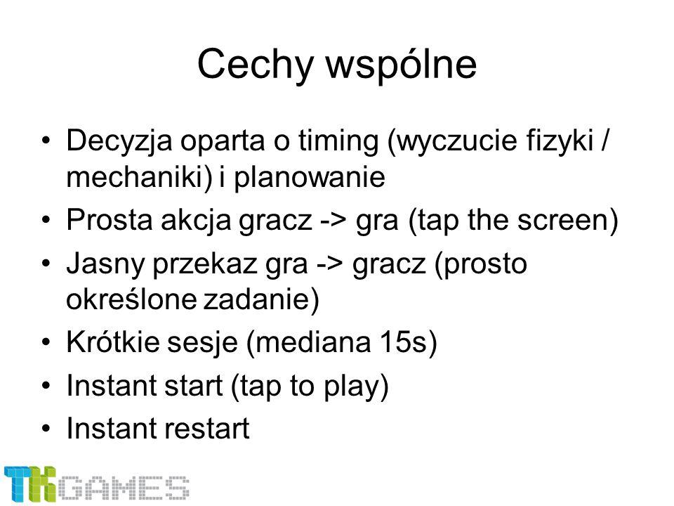 Cechy wspólne Decyzja oparta o timing (wyczucie fizyki / mechaniki) i planowanie Prosta akcja gracz -> gra (tap the screen) Jasny przekaz gra -> gracz