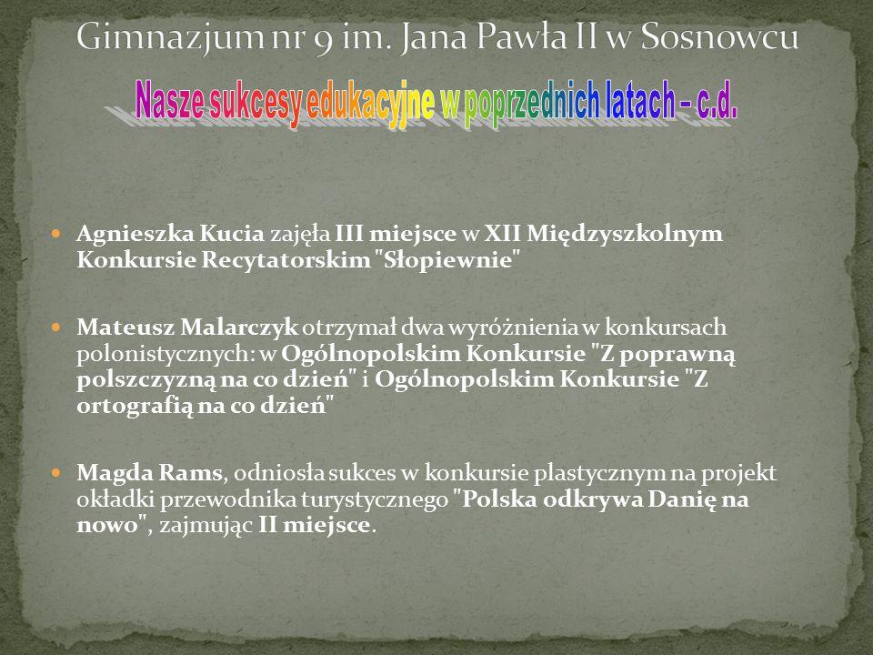 Agnieszka Kucia zajęła III miejsce w XII Międzyszkolnym Konkursie Recytatorskim