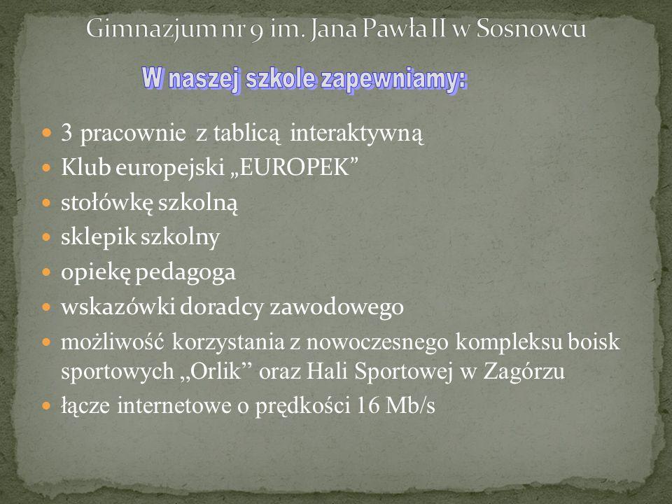 """3 pracownie z tablicą interaktywną Klub europejski """"EUROPEK"""" stołówkę szkolną sklepik szkolny opiekę pedagoga wskazówki doradcy zawodowego możliwość k"""