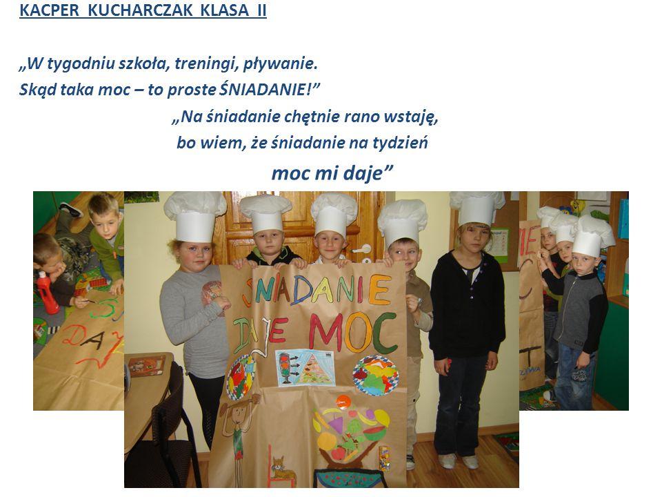 """KACPER KUCHARCZAK KLASA II """"W tygodniu szkoła, treningi, pływanie."""
