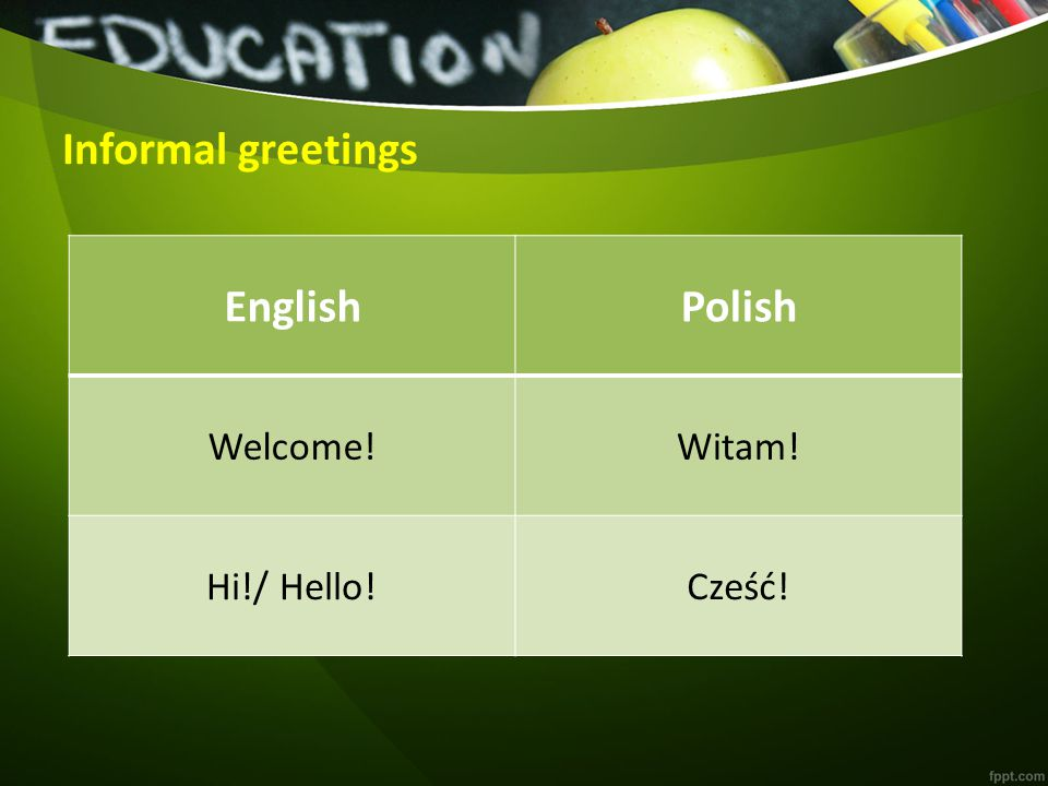 Activity 1 Match the greetings in English to the corresponding ones in Polish