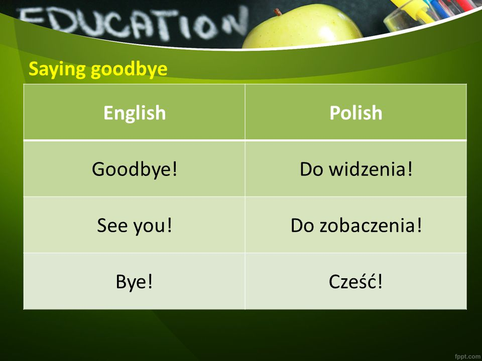 Saying goodbye EnglishPolish Goodbye!Do widzenia! See you!Do zobaczenia! Bye!Cześć!