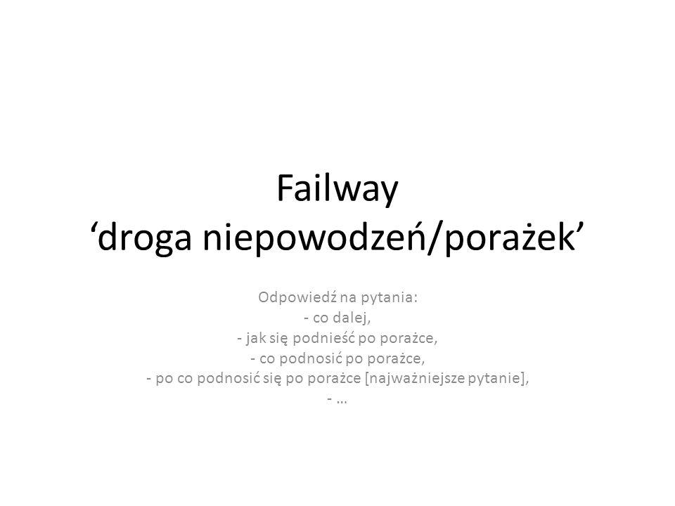 Failway 'droga niepowodzeń/porażek' Odpowiedź na pytania: - co dalej, - jak się podnieść po porażce, - co podnosić po porażce, - po co podnosić się po porażce [najważniejsze pytanie], - …