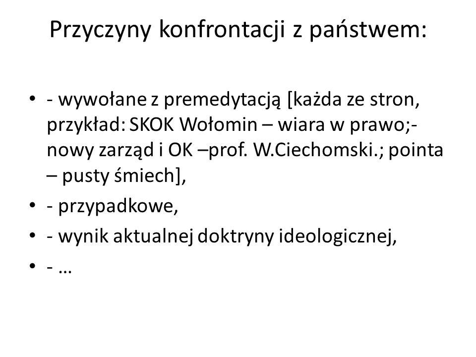 Przyczyny konfrontacji z państwem: - wywołane z premedytacją [każda ze stron, przykład: SKOK Wołomin – wiara w prawo;- nowy zarząd i OK –prof. W.Ciech