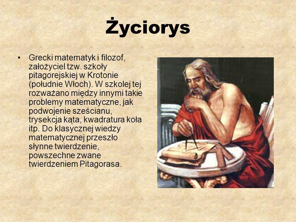 Życiorys Grecki matematyk i filozof, założyciel tzw.