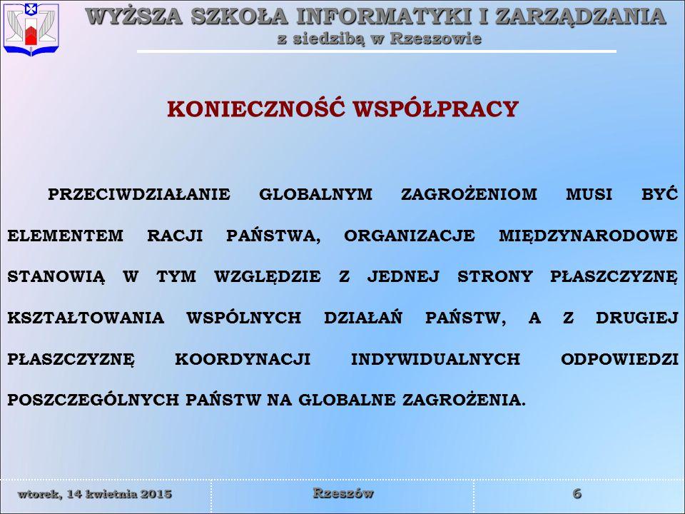 WYŻSZA SZKOŁA INFORMATYKI I ZARZĄDZANIA z siedzibą w Rzeszowie 17 wtorek, 14 kwietnia 2015wtorek, 14 kwietnia 2015wtorek, 14 kwietnia 2015wtorek, 14 kwietnia 2015 Rzeszów NATO