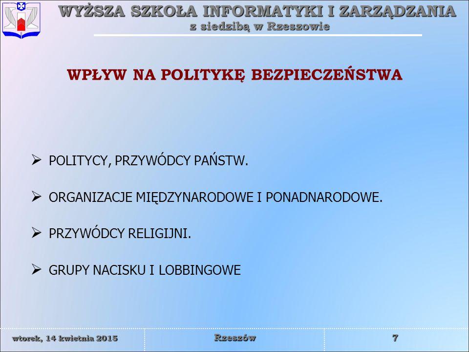 WYŻSZA SZKOŁA INFORMATYKI I ZARZĄDZANIA z siedzibą w Rzeszowie 8 wtorek, 14 kwietnia 2015wtorek, 14 kwietnia 2015wtorek, 14 kwietnia 2015wtorek, 14 kwietnia 2015 Rzeszów ORGANIZACJE MIĘDZYNARODOWE – POLITYKA BEZPIECZEŃSTWA  ONZ  UE  NATO  OBWE  RADA EUROPY