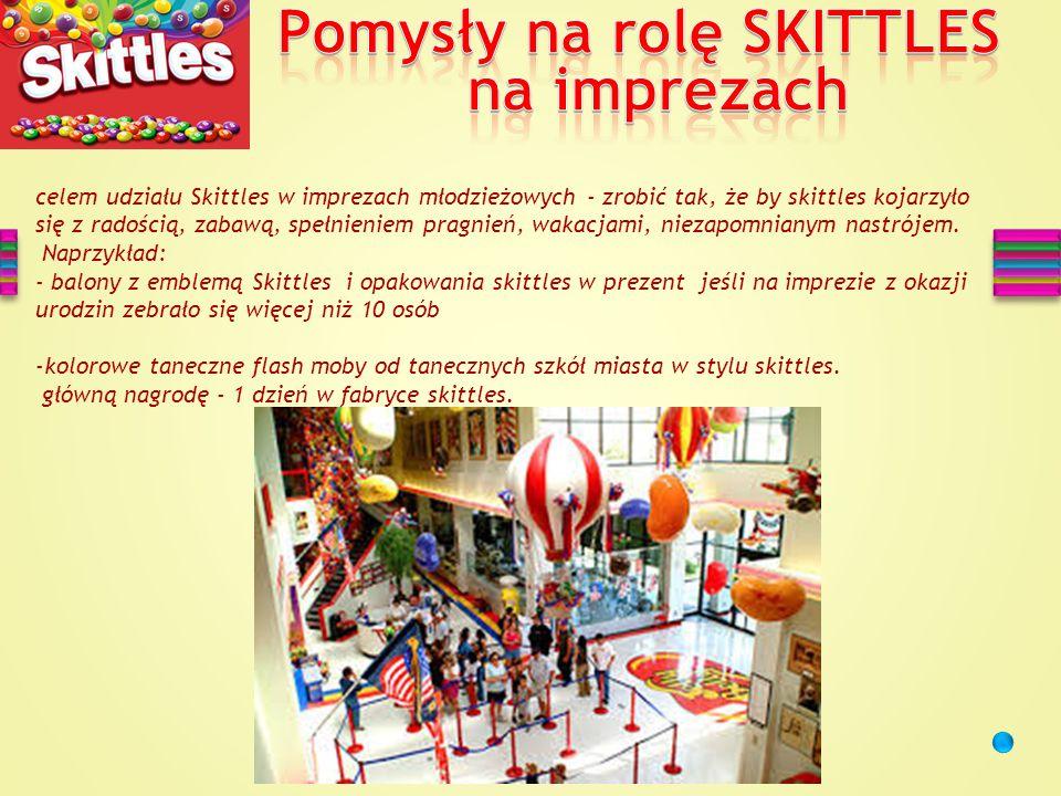 celem udziału Skittles w imprezach młodzieżowych - zrobić tak, że by skittles kojarzyło się z radością, zabawą, spełnieniem pragnień, wakacjami, niezapomnianym nastrójem.