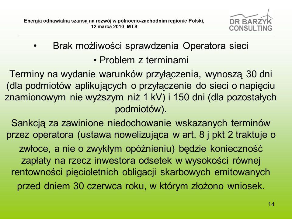 14 Brak możliwości sprawdzenia Operatora sieci Problem z terminami Terminy na wydanie warunków przyłączenia, wynoszą 30 dni (dla podmiotów aplikujących o przyłączenie do sieci o napięciu znamionowym nie wyższym niż 1 kV) i 150 dni (dla pozostałych podmiotów).