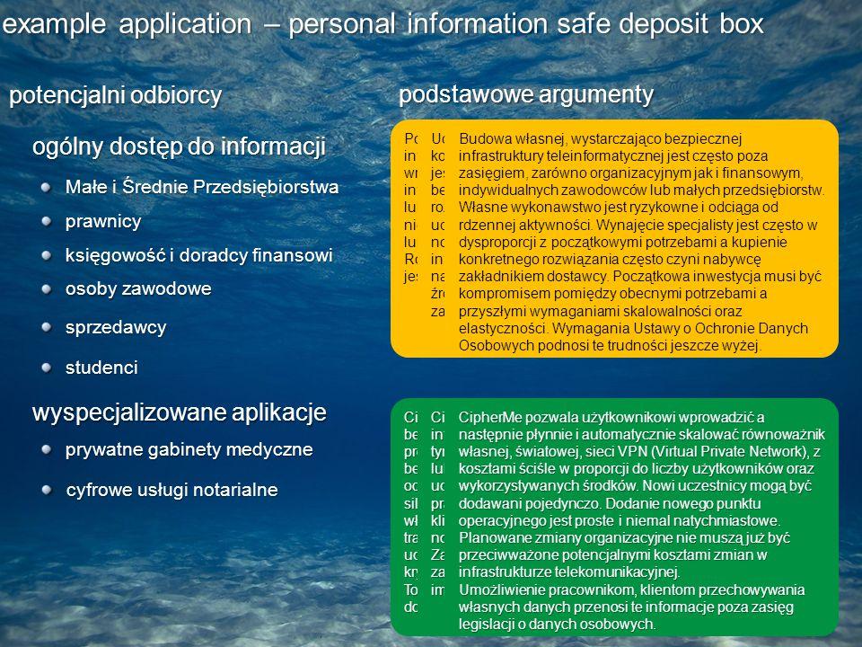 example application – personal information safe deposit box potencjalni odbiorcy Małe i Średnie Przedsiębiorstwa podstawowe argumenty prawnicy księgowość i doradcy finansowi osoby zawodowe studenci ogólny dostęp do informacji sprzedawcy wyspecjalizowane aplikacje prywatne gabinety medyczne Poleganie większości współczesnych przedsięwzięć na informacjach cyfrowych czyni je coraz bardziej wrażliwymi na niebezpieczeństwa grożące samym informacjom.