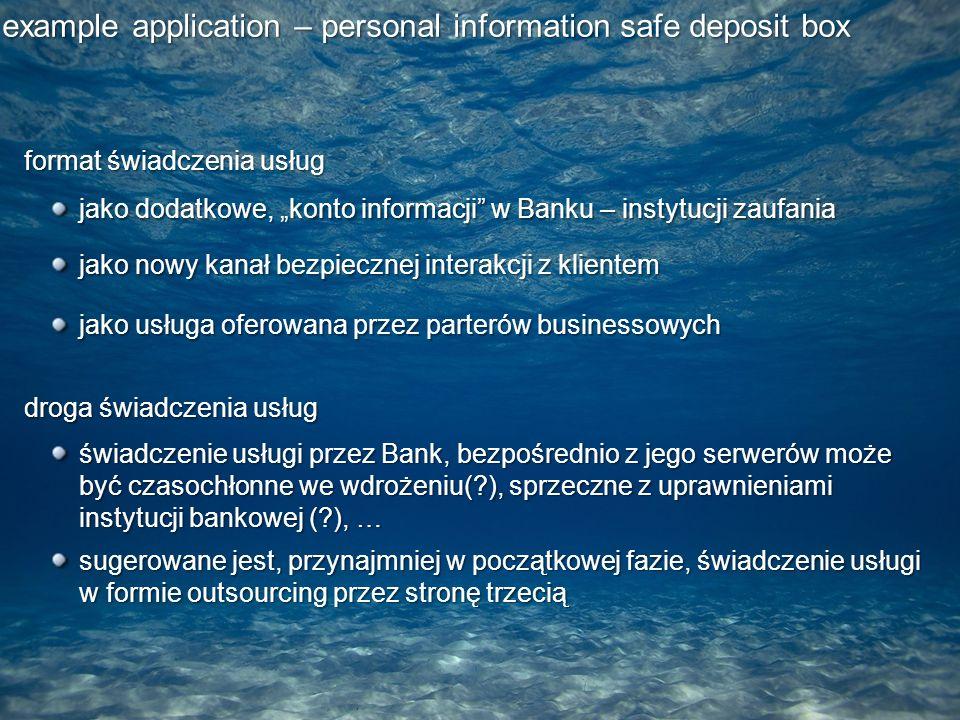 """format świadczenia usług jako dodatkowe, """"konto informacji w Banku – instytucji zaufania jako usługa oferowana przez parterów businessowych jako nowy kanał bezpiecznej interakcji z klientem droga świadczenia usług świadczenie usługi przez Bank, bezpośrednio z jego serwerów może być czasochłonne we wdrożeniu( ), sprzeczne z uprawnieniami instytucji bankowej ( ), … sugerowane jest, przynajmniej w początkowej fazie, świadczenie usługi w formie outsourcing przez stronę trzecią"""