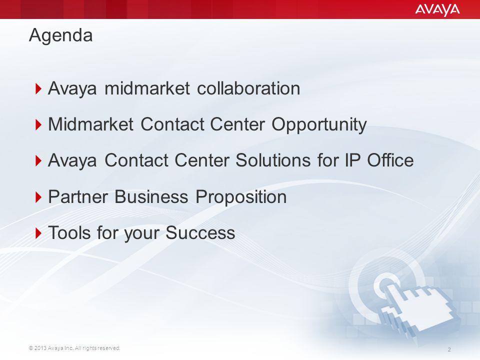© 2013 Avaya Inc. All rights reserved. 22 Agenda  Avaya midmarket collaboration  Midmarket Contact Center Opportunity  Avaya Contact Center Solutio