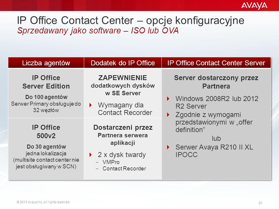© 2013 Avaya Inc. All rights reserved. 20 IP Office Contact Center – opcje konfiguracyjne Sprzedawany jako software – ISO lub OVA