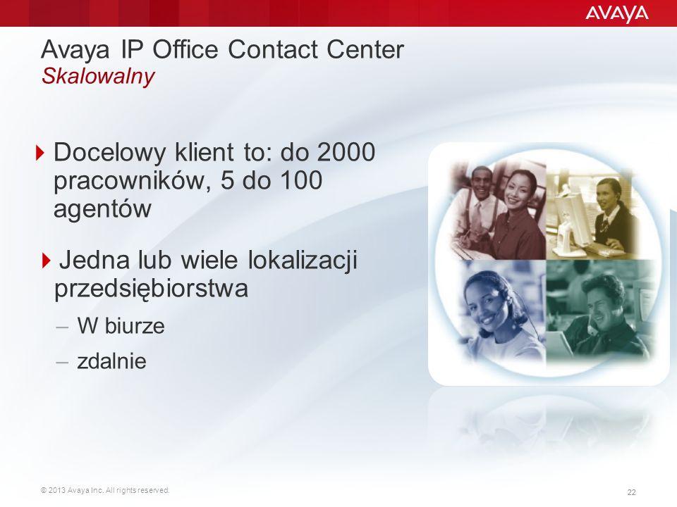 © 2013 Avaya Inc. All rights reserved. 22  Docelowy klient to: do 2000 pracowników, 5 do 100 agentów  Jedna lub wiele lokalizacji przedsiębiorstwa –