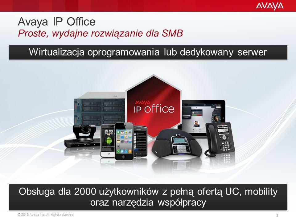 © 2013 Avaya Inc. All rights reserved. 3 Wirtualizacja oprogramowania lub dedykowany serwer Obsługa dla 2000 użytkowników z pełną ofertą UC, mobility