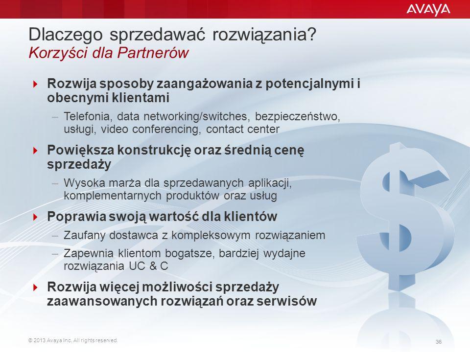 © 2013 Avaya Inc. All rights reserved. 36 Dlaczego sprzedawać rozwiązania? Korzyści dla Partnerów  Rozwija sposoby zaangażowania z potencjalnymi i ob