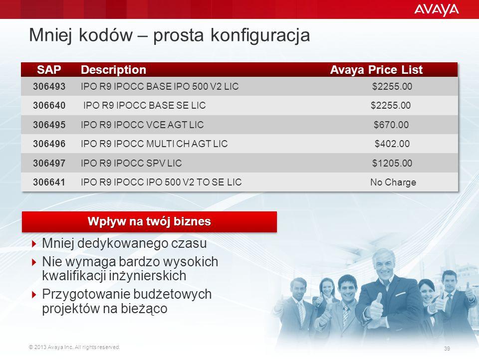 © 2013 Avaya Inc. All rights reserved. 39 Mniej kodów – prosta konfiguracja  Mniej dedykowanego czasu  Nie wymaga bardzo wysokich kwalifikacji inżyn