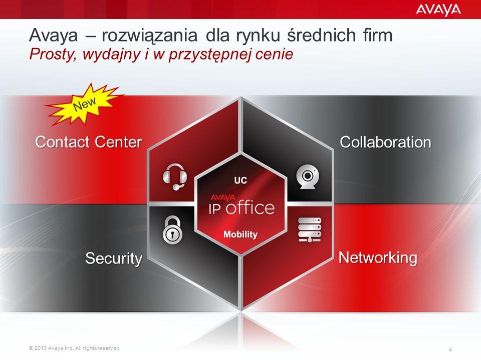 © 2013 Avaya Inc. All rights reserved. 4 Avaya – rozwiązania dla rynku średnich firm Prosty, wydajny i w przystępnej cenie Contact Center Networking S