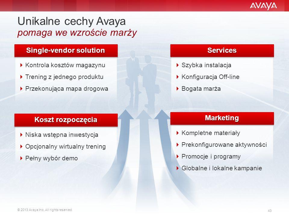 © 2013 Avaya Inc. All rights reserved. 43 Unikalne cechy Avaya pomaga we wzroście marży  Kontrola kosztów magazynu  Trening z jednego produktu  Prz