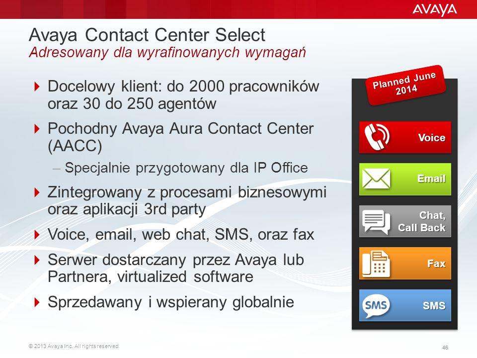© 2013 Avaya Inc. All rights reserved. 46 Avaya Contact Center Select Adresowany dla wyrafinowanych wymagań  Docelowy klient: do 2000 pracowników ora