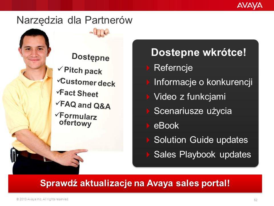 © 2013 Avaya Inc. All rights reserved. 52 Dostępne Pitch pack Customer deck Fact Sheet FAQ and Q&A Formularz ofertowy Narzędzia dla Partnerów Sprawdź