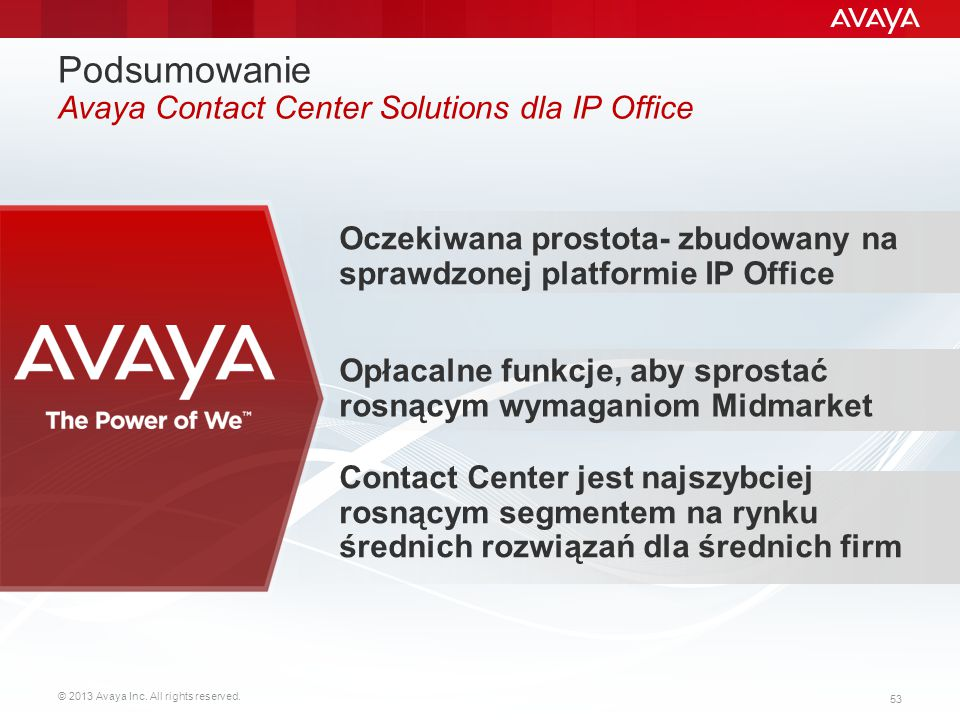 © 2013 Avaya Inc. All rights reserved. 53 Podsumowanie Avaya Contact Center Solutions dla IP Office Contact Center jest najszybciej rosnącym segmentem