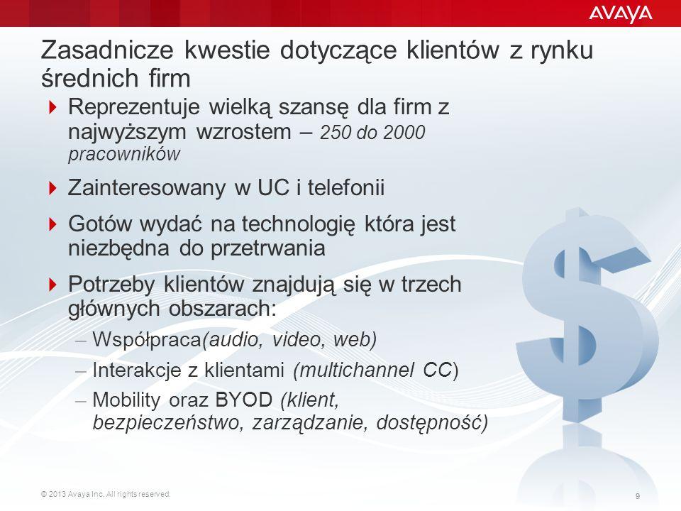© 2013 Avaya Inc. All rights reserved. 99 Zasadnicze kwestie dotyczące klientów z rynku średnich firm  Reprezentuje wielką szansę dla firm z najwyższ
