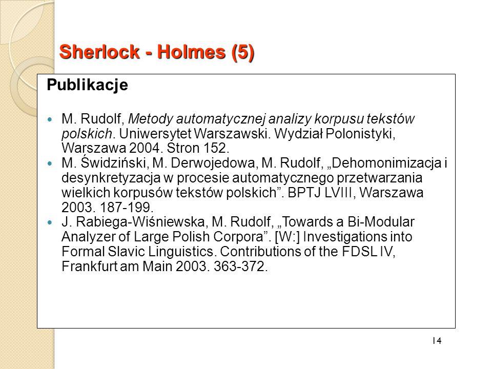 Publikacje M. Rudolf, Metody automatycznej analizy korpusu tekstów polskich.