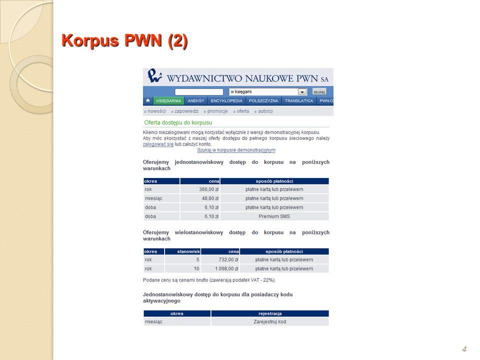 Wyszukiwarki (1) 5 Wyszukiwarki: --- Dla klientów PWN on-line (wersja demonstracyjna) na płycie (wersja 7 mln) --- Dla leksykografów PWN Sherlock