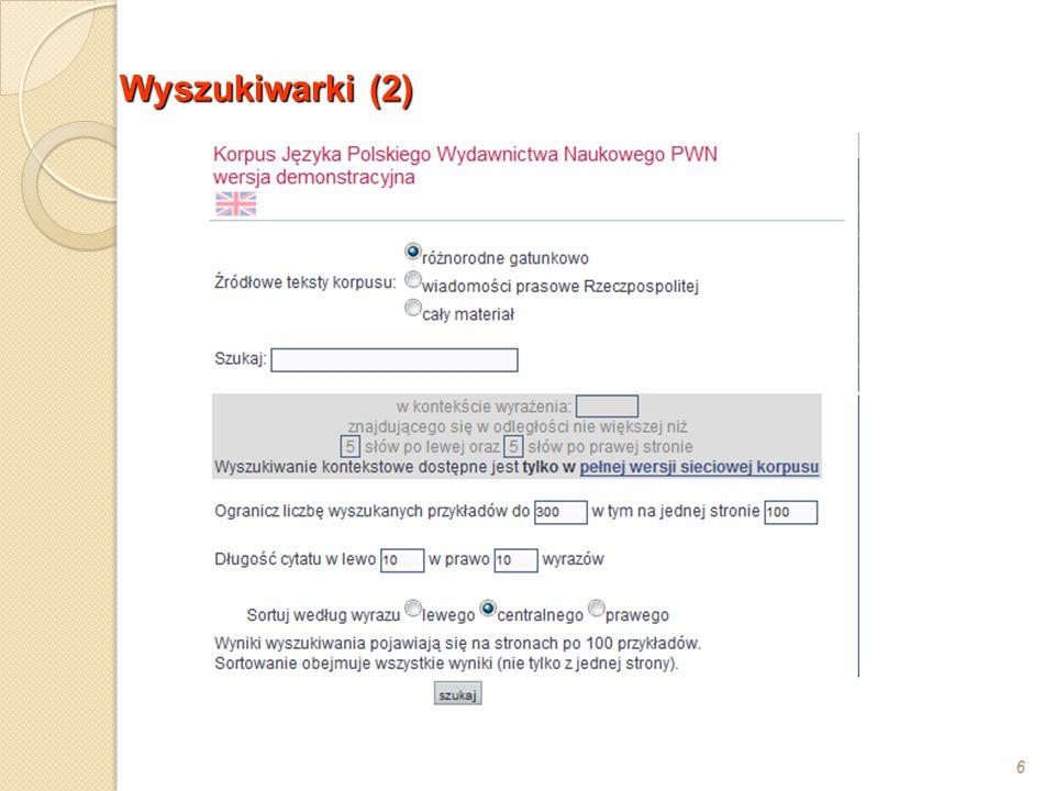 Przebieg analizy: segmentacja tekstu na wypowiedzenia (program ZDANIA) analiza morfologiczna (program AMOR z zadanym słownikiem gramatycznym; J.