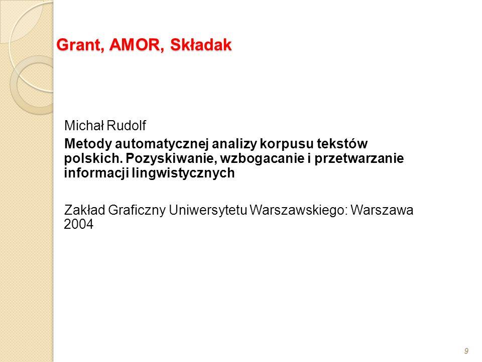 Michał Rudolf Metody automatycznej analizy korpusu tekstów polskich.