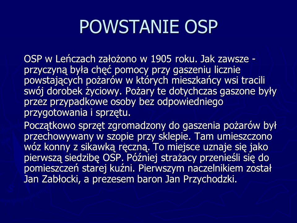 POWSTANIE OSP OSP w Leńczach założono w 1905 roku. Jak zawsze - przyczyną była chęć pomocy przy gaszeniu licznie powstających pożarów w których mieszk