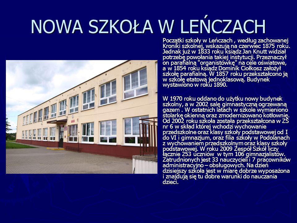 NOWA SZKOŁA W LEŃCZACH Początki szkoły w Leńczach, według zachowanej Kroniki szkolnej, wskazują na czerwiec 1875 roku. Jednak już w 1833 roku ksiądz J