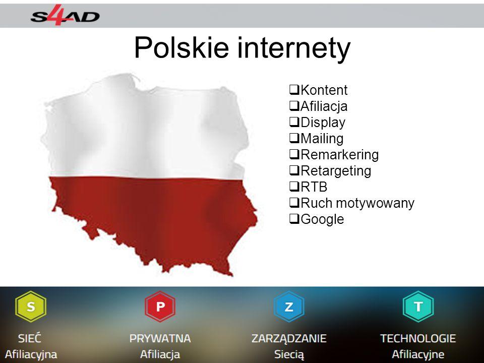 Polskie internety  Kontent  Afiliacja  Display  Mailing  Remarkering  Retargeting  RTB  Ruch motywowany  Google