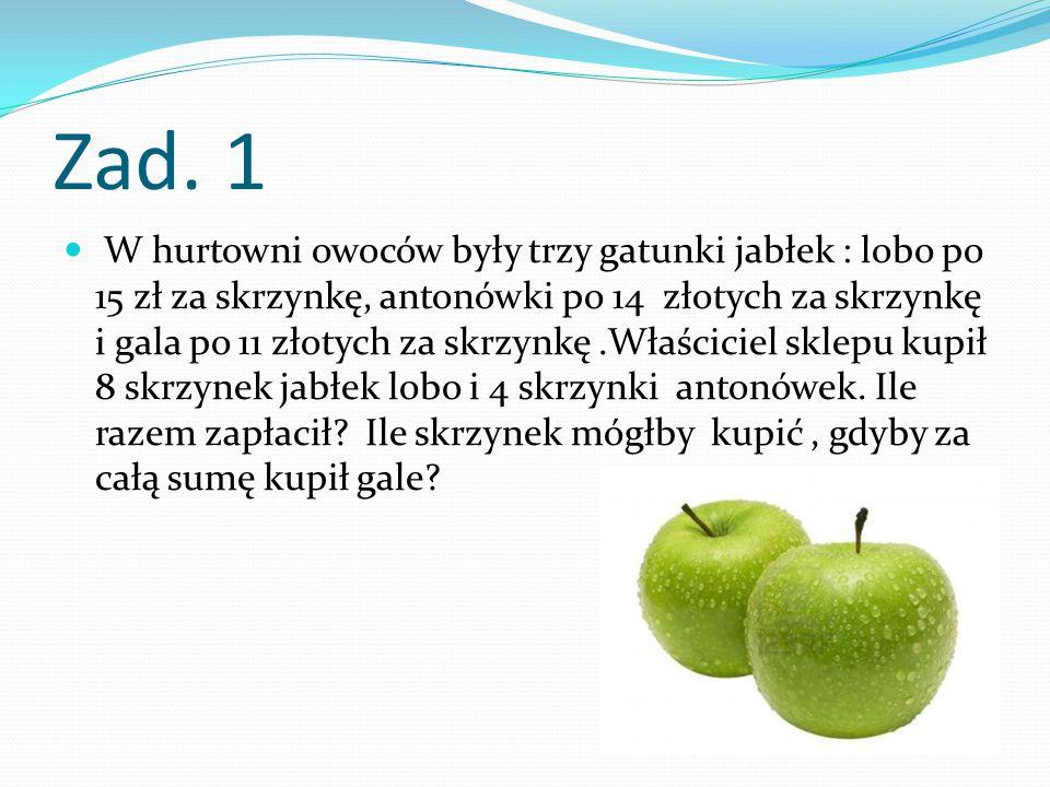Zad. 1 W hurtowni owoców były trzy gatunki jabłek : lobo po 15 zł za skrzynkę, antonówki po 14 złotych za skrzynkę i gala po 11 złotych za skrzynkę.Wł