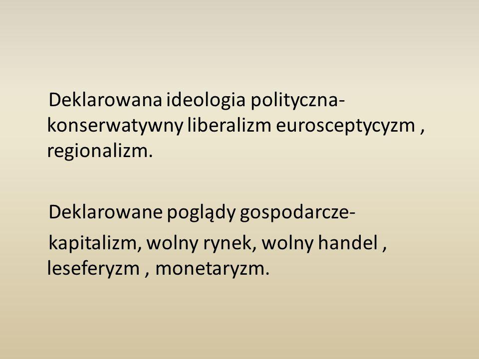 Deklarowana ideologia polityczna- konserwatywny liberalizm eurosceptycyzm, regionalizm.