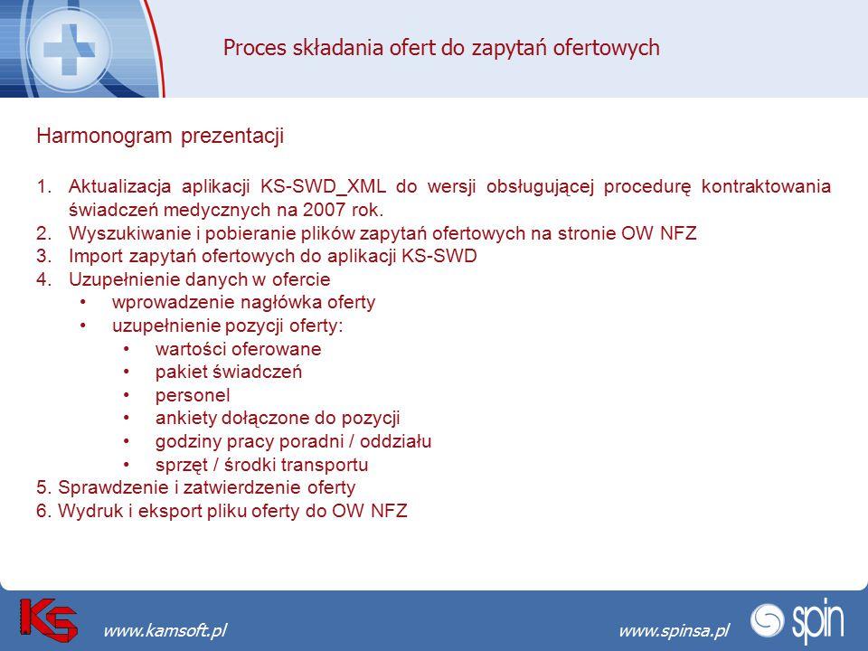 Przekraczamy bariery możliwościwww.spinsa.pl www.kamsoft.pl Proces składania ofert do zapytań ofertowych Harmonogram prezentacji 1.Aktualizacja aplika