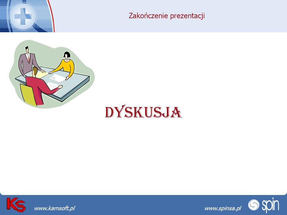 Przekraczamy bariery możliwościwww.spinsa.pl www.kamsoft.pl Zakończenie prezentacji DYSKUSJA