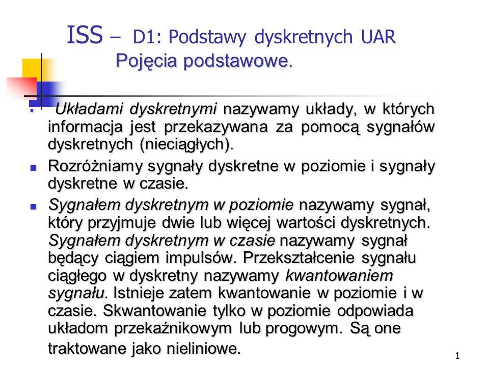 1 Pojęcia podstawowe.ISS – D1: Podstawy dyskretnych UAR Pojęcia podstawowe.