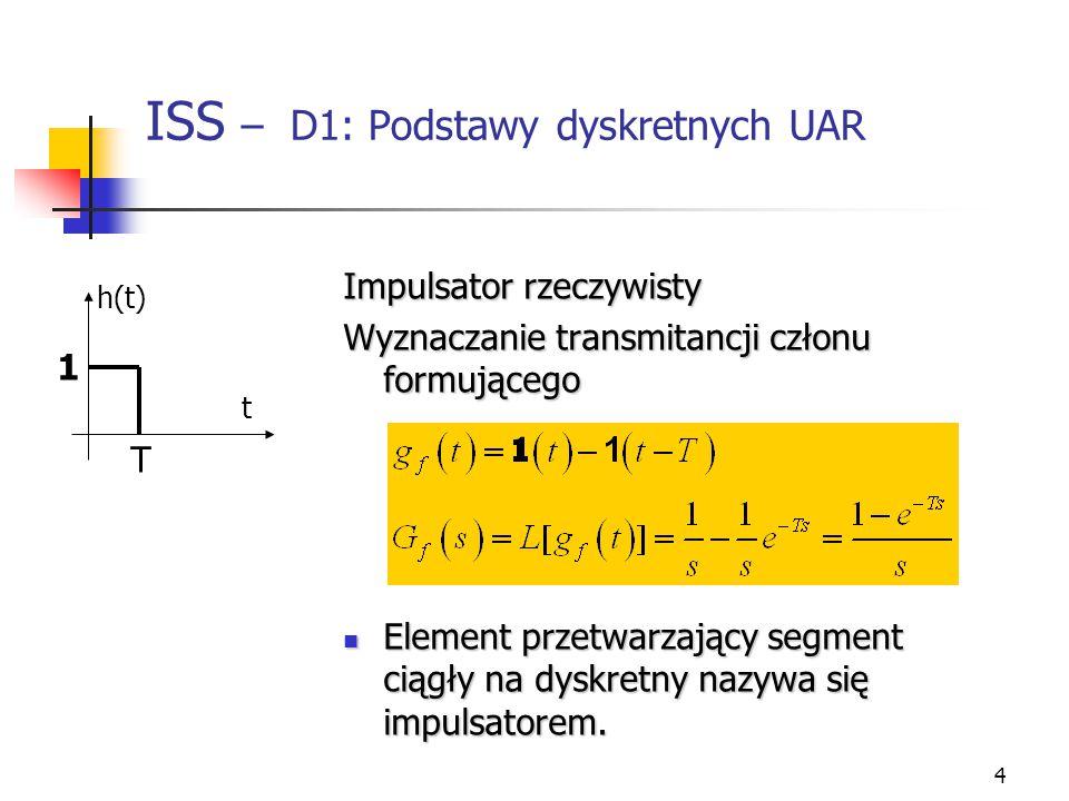 4 ISS – D1: Podstawy dyskretnych UAR Impulsator rzeczywisty Wyznaczanie transmitancji członu formującego Element przetwarzający segment ciągły na dysk