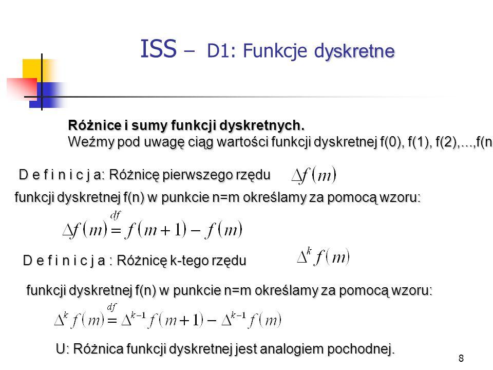 8 yskretne ISS – D1: Funkcje d yskretne Różnice i sumy funkcji dyskretnych. Weźmy pod uwagę ciąg wartości funkcji dyskretnej f(0), f(1), f(2),...,f(n)
