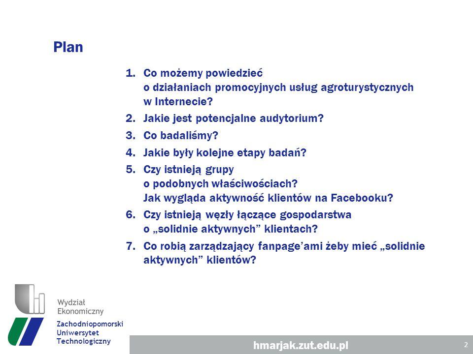 Plan 1.Co możemy powiedzieć o działaniach promocyjnych usług agroturystycznych w Internecie.