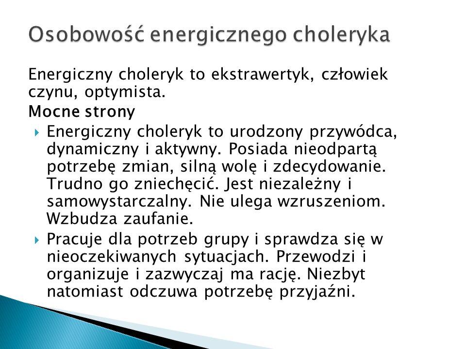 Energiczny choleryk to ekstrawertyk, człowiek czynu, optymista. Mocne strony  Energiczny choleryk to urodzony przywódca, dynamiczny i aktywny. Posiad