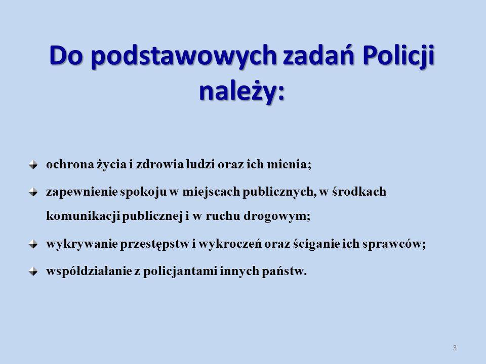 Do podstawowych zadań Policji należy: ochrona życia i zdrowia ludzi oraz ich mienia; zapewnienie spokoju w miejscach publicznych, w środkach komunikac