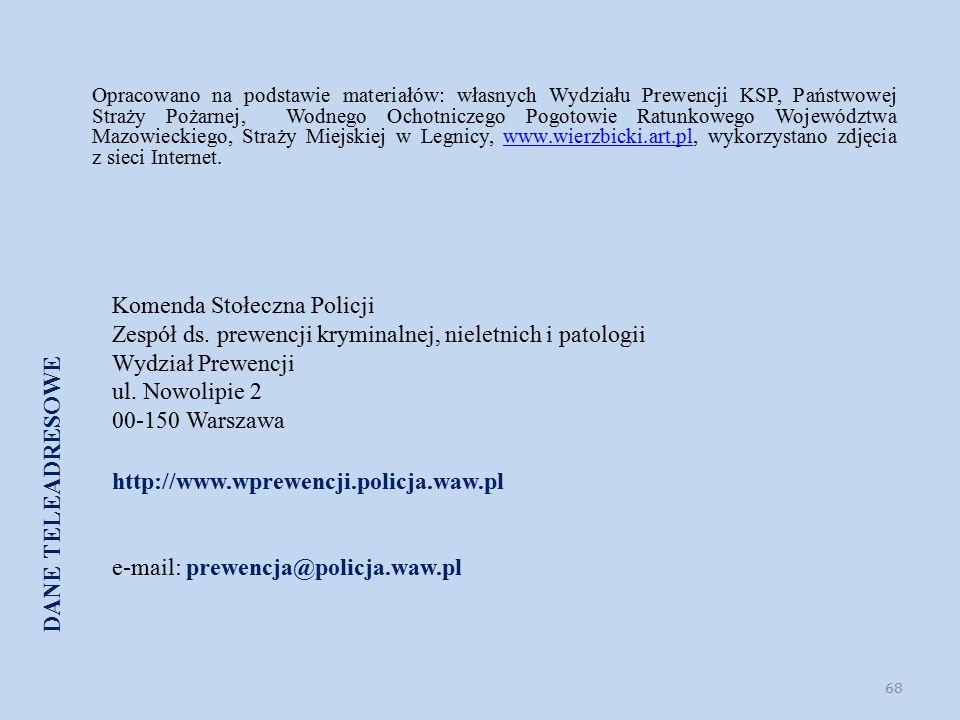 Komenda Stołeczna Policji Zespół ds. prewencji kryminalnej, nieletnich i patologii Wydział Prewencji ul. Nowolipie 2 00-150 Warszawa http://www.wprewe