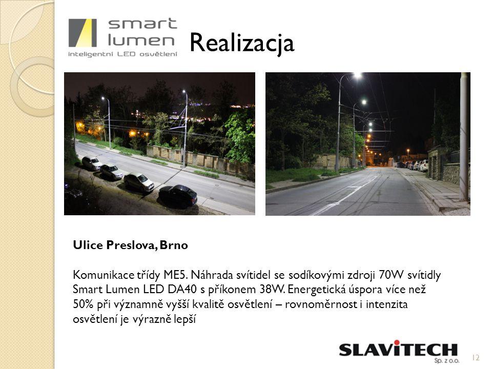 12 Realizacja Ulice Preslova, Brno Komunikace třídy ME5.