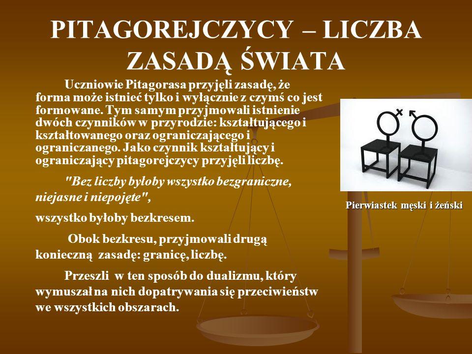 PITAGOREJCZYCY – LICZBA ZASADĄ ŚWIATA Uczniowie Pitagorasa przyjęli zasadę, że forma może istnieć tylko i wyłącznie z czymś co jest formowane. Tym sam